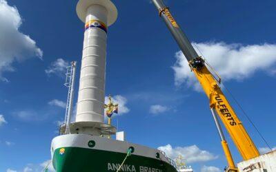 Schiff mit Windrotor ausgestattet – Zusätzliches Antriebssystem soll Treibstoffverbrauch auf den Meeren reduzieren